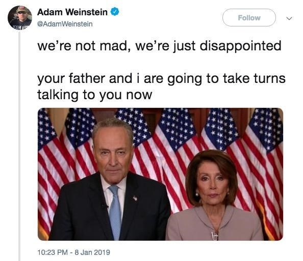 Chuck Schumer and Nancy Pelosi as disappointed parents
