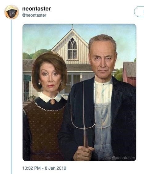 Chuck Schumer and Nancy Pelosi photoshopped as the American Gothic couple
