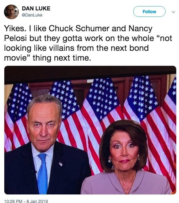 Tweet about Chuck Schumer and Nancy Pelosi looking like villains