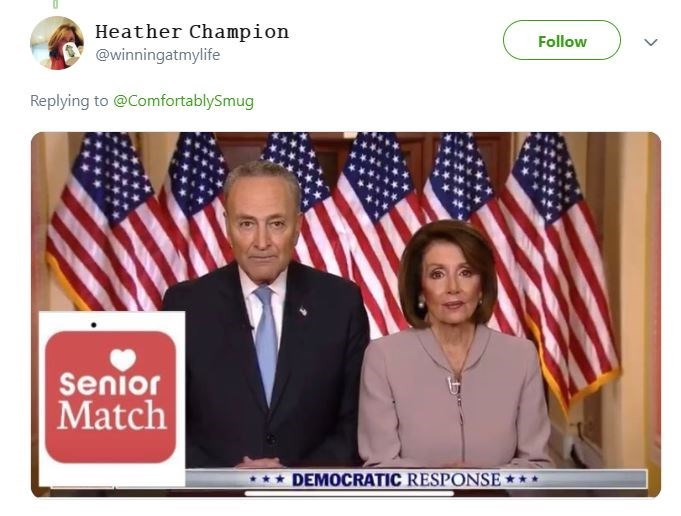 Chuck Schumer and Nancy Pelosi in an ad for a dating site for old people