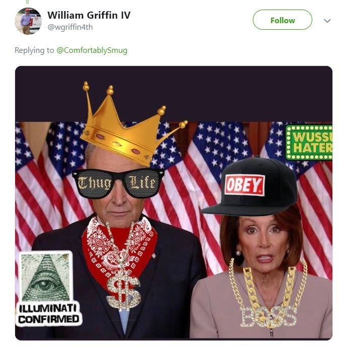 Pic of Chuck Schumer and Nancy Pelosi with thug stickers