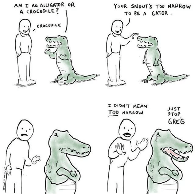Comic about a croc getting offended when told it doesn't look like an alligator