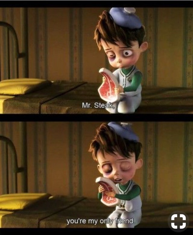 """""""Meet the Robinsons"""" scene of a beat up Goob talking to a steak"""