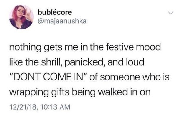 Tweet about getting in the Christmas spirit