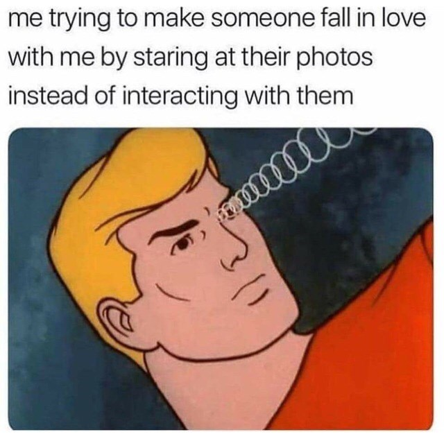 Meme about having a crush and doing nothing about it with pic of Aquaman sending out brainwaves