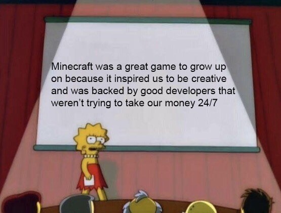 Lisa Simpson meme about what makes Minecraft a good game for kids