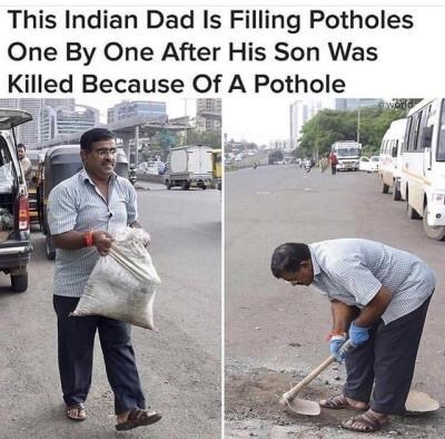 Pics of man filling potholes in memory of his dead son