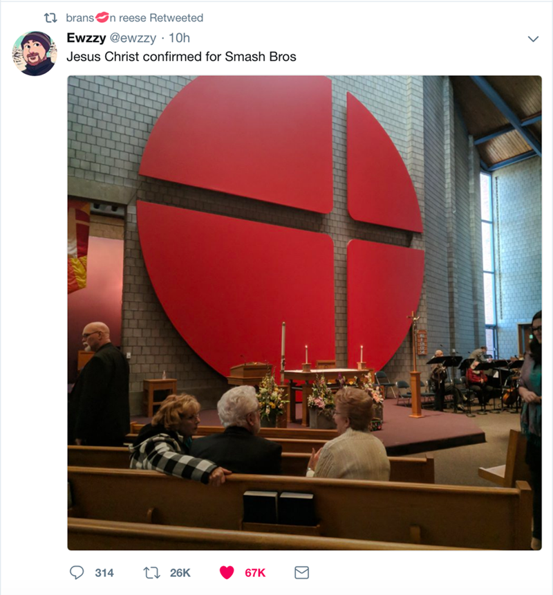Sphere - t brans n reese Retweeted Ewzzy @ewzzy 10h . Jesus Christ confirmed for Smash Bros 1 26K 314 67K