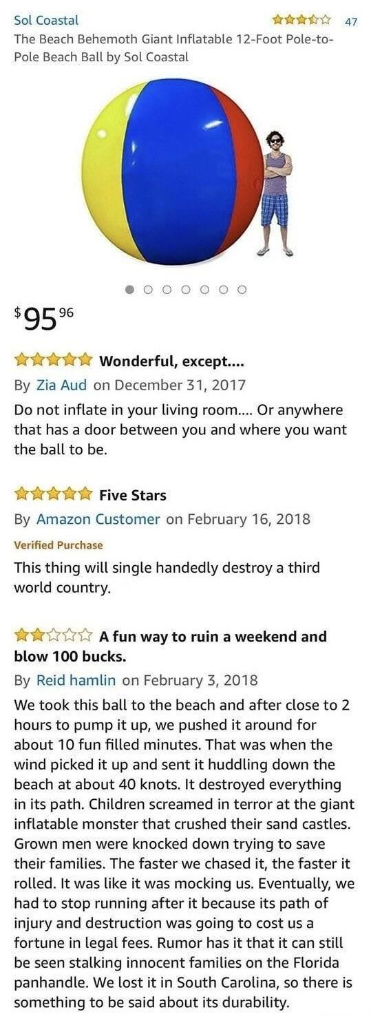 Amazon review of a behemoth inflatable ball that destroys everything in its path