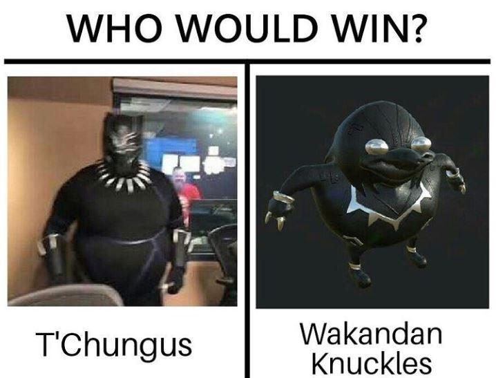 dank meme - Photo caption - WHO WOULD WIN? Wakandan Knuckles T'Chungus