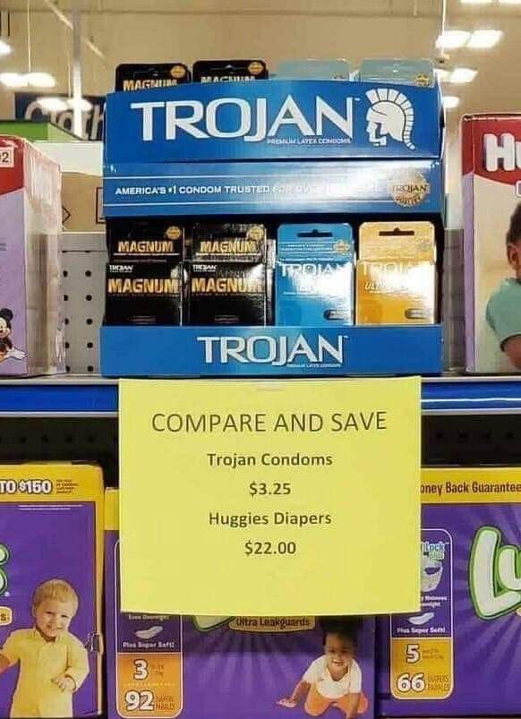 Product - MACHUA MAGNU TROJAN Hu LATEa CONDOM $2 WRCHAN AMERICA'S 1CONDOM TRUSTED 6ROV MAGNUM MAGNUM TRO TROIA THESAN MAGNUM MAGNU TROJAN COMPARE AND SAVE Trojan Condoms TO$150 $3.25 oney Back Guarantee Huggies Diapers teck $22.00 Ntra Leakguards Ph Seper Set Pla per Saf 3 66 AES 92 REALLY