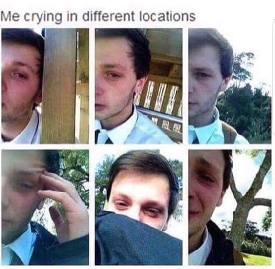Funny meme about a boy crying in different locations.
