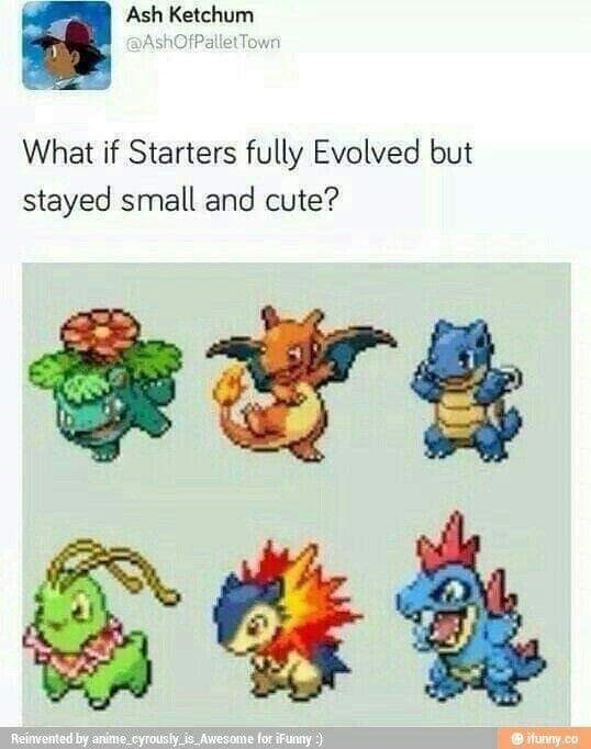"""Caption that reads, """"What if starters fully evolved but stayed small and cute?"""" above pics of six starters"""
