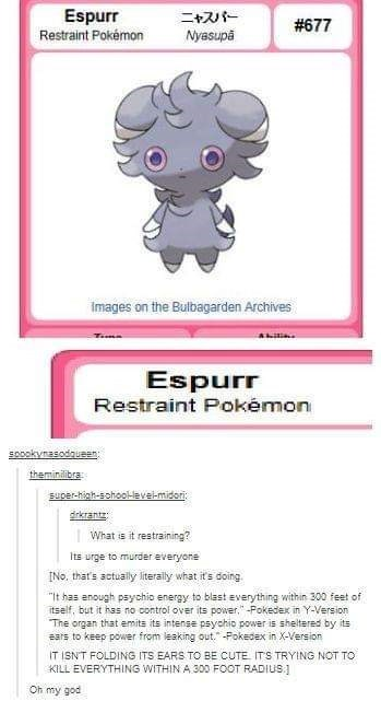 Tumblr thread about a restraint type Pokemon restraining itself from killing everyone