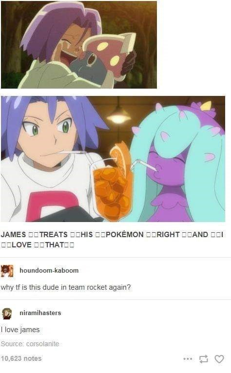 Tumblr thread with pics of James doing cute activities with his Pokemon