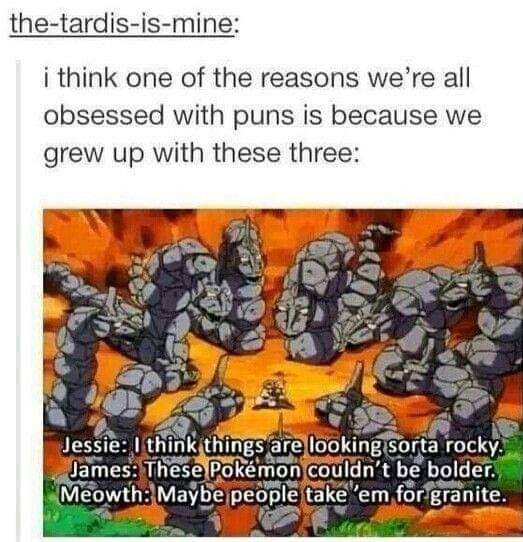 Tumblr thread about Team Rocket from Pokemon constantly making puns