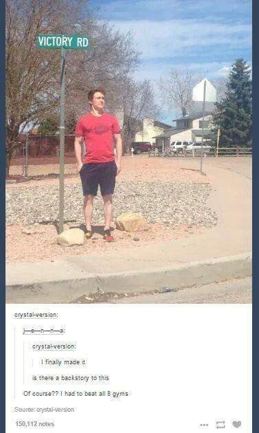 """pic of person standing next to a """"victory road"""" sign and saying he got there by becoming a Pokemon master"""
