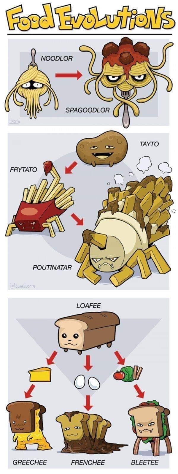 meme about foods evolving like Pokemons