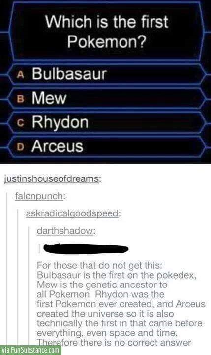 """""""who wants to be a millionaire"""" style question asking an impossible Pokemon question"""
