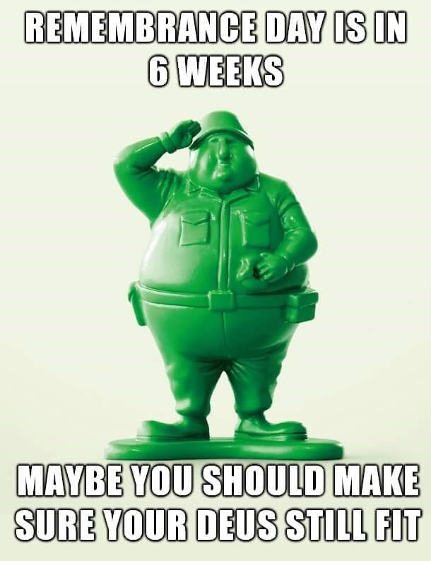 navy meme - Action figure - REMEMBRANCE DAY IS IN 6WEEKS MAYBE YOU SHOULD MAKE SURE YOUR DEUS STILL FIT
