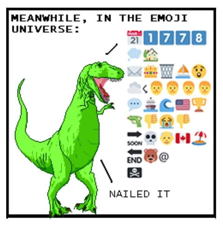 """Caption that reads, """"Meanwhile, in the emoji universe"""" above a pic of a dinosaur and some navy-related emojis"""