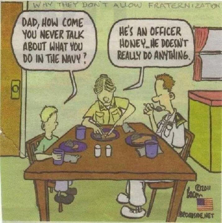 navy meme - Cartoon - WAY THEY DONT AUow FRATERNIZATON DAD, HOW COME YOU NEVER TALK ABOUT WHAT YOU DO IN THE NAVY? HE'S AN OFFICER HONEYNE DOESNT REALLY DO ANYTAING tonsDE NET