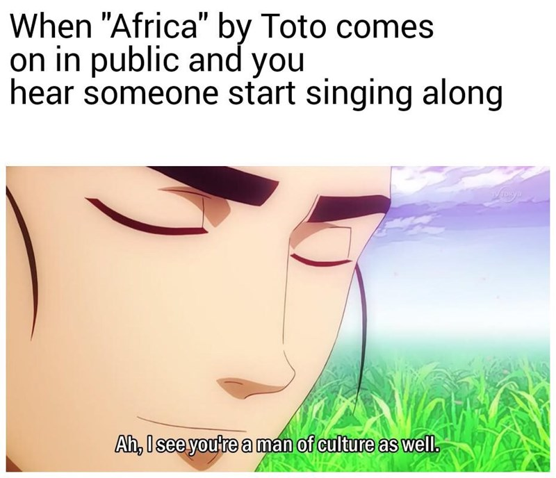 "Face - When ""Africa"" by Toto comes on in public and you hear someone start singing along Ah, I see youtre a man of culture as well"