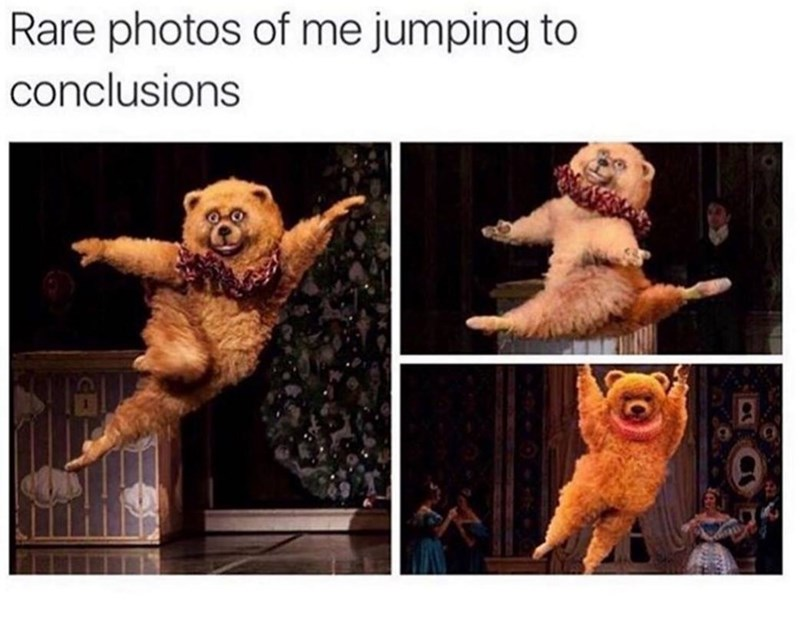 wholesome meme of a fake bear jumping dramatically