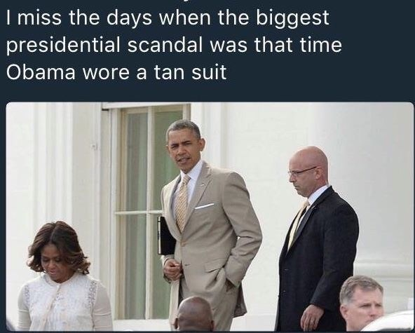 wholesome meme about missing the days when Obama wore a tan suit