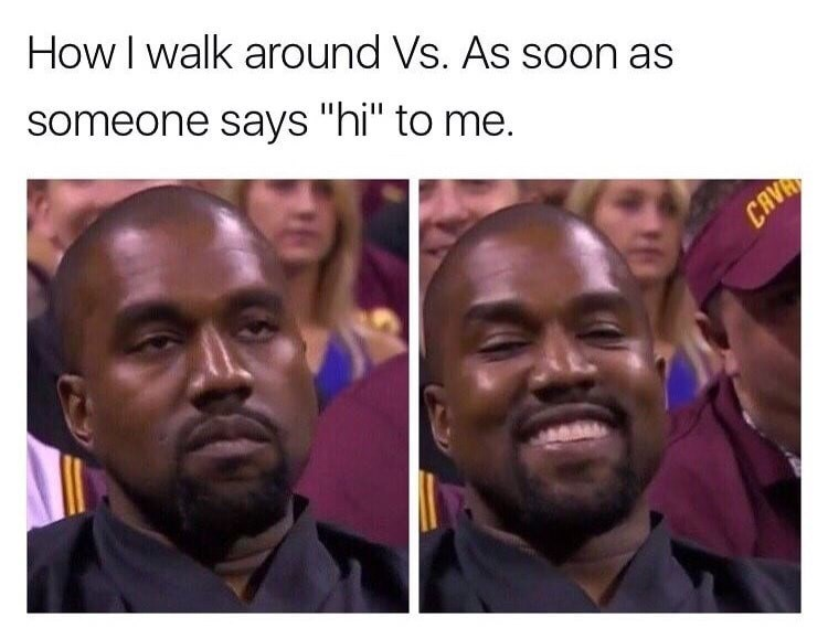 wholesome meme with Kanye about feeling excited when someone says hi to you