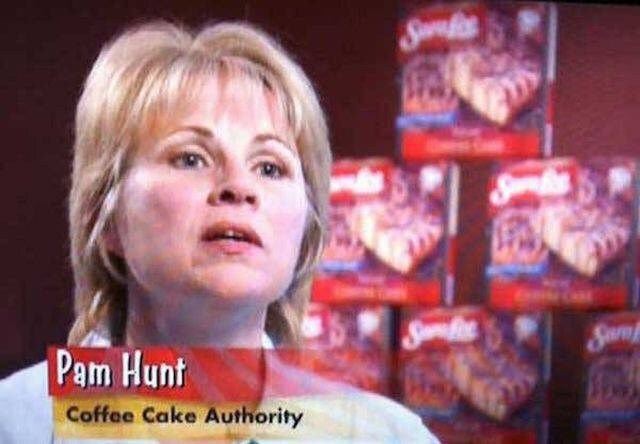 wholesome meme of pam hunt head of the coffee cake authority