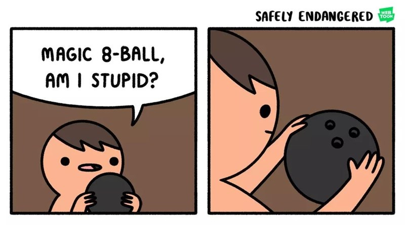 comic about asking a bowling bowl if you're stupid