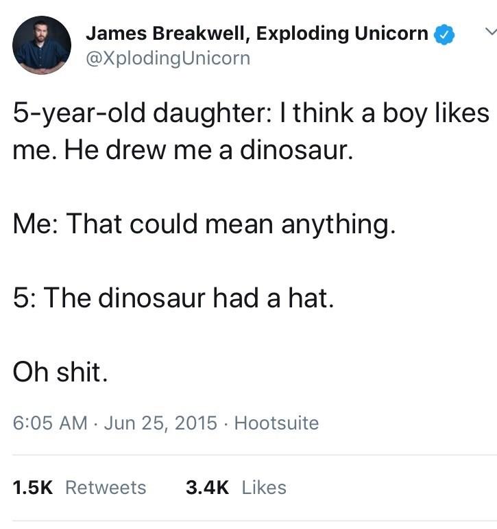 tweet about kindergarten boys flirting by drawing hats on dinosaurs