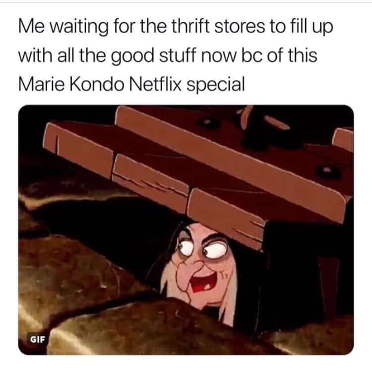 meme about thrift shopping with pic of the Evil Queen from Snow White laughing while disguised as an old woman