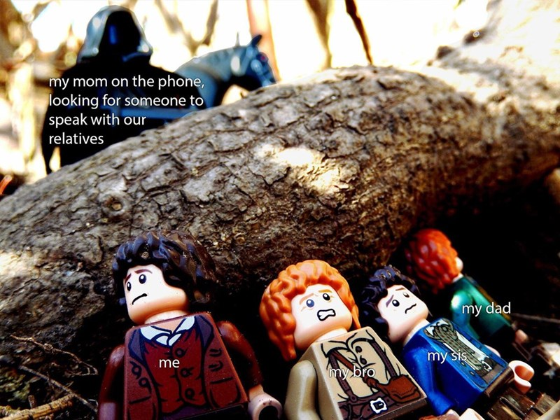 meme about talking to relatives on the phone with scene from LotR of the Hobbits hiding from the Nazgul recreated with Lego figures