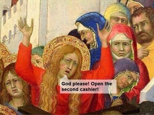 meme about the store being busy with not enough cashiers, with classic painting of a mob of people squeezed together