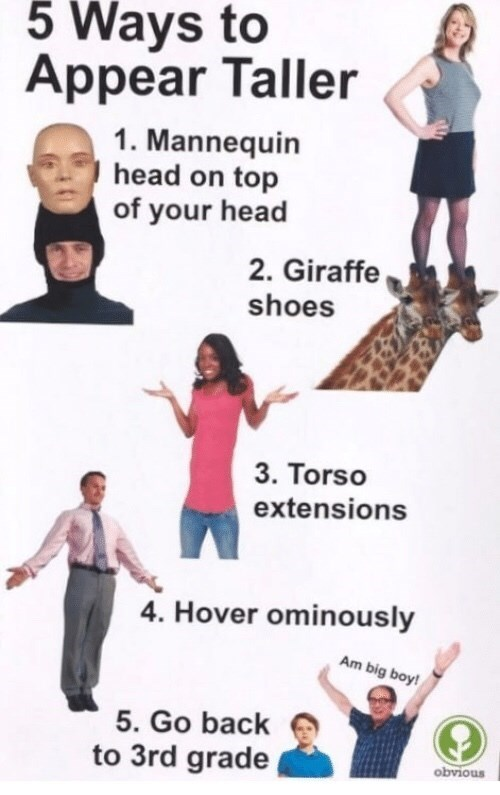 list of five ridiculous methods to make yourself taller