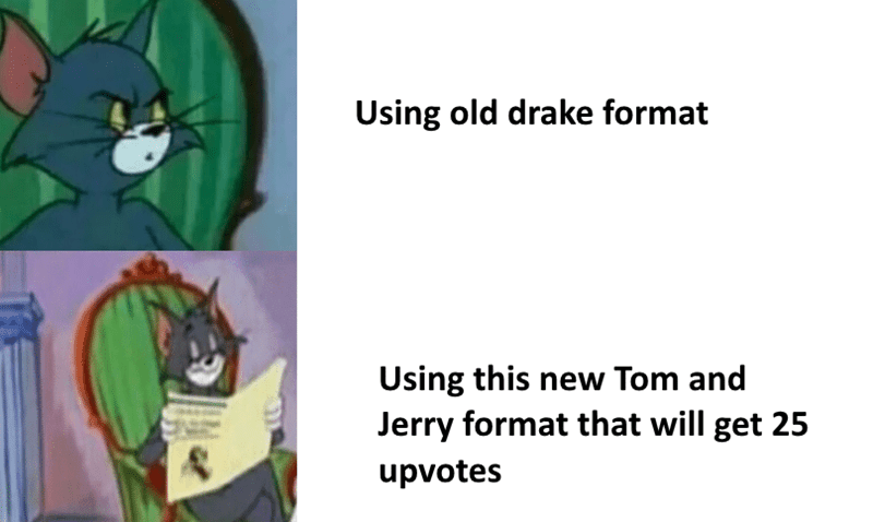 Drake Hotline meme but with pics of Tom the Cat