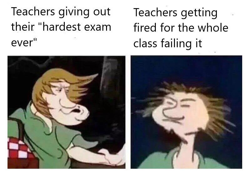 meme about teachers giving out hard exams and paying for it with pics of Shaggy making strange faces