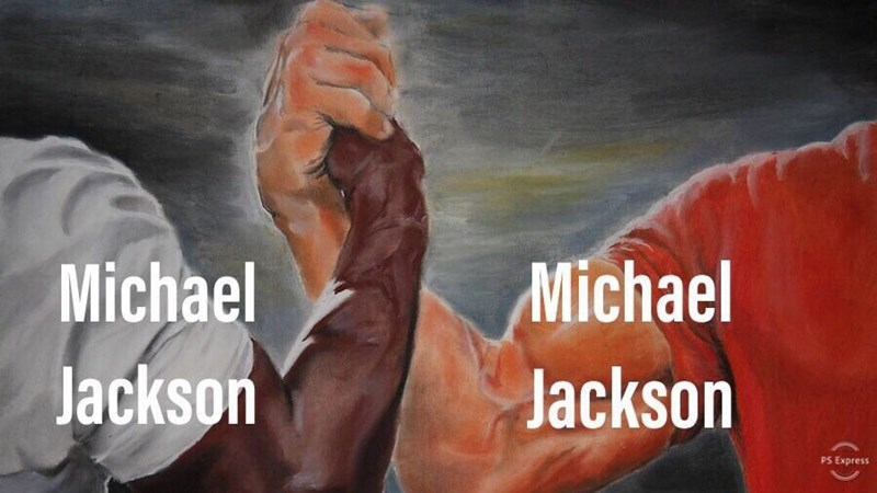 epic handshake meme about Michael Jackson being both black and white