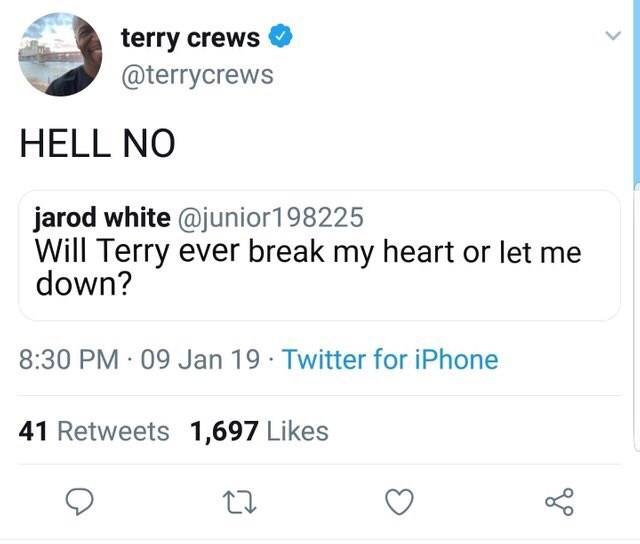 Terry Crews tweet promising to never disappoint
