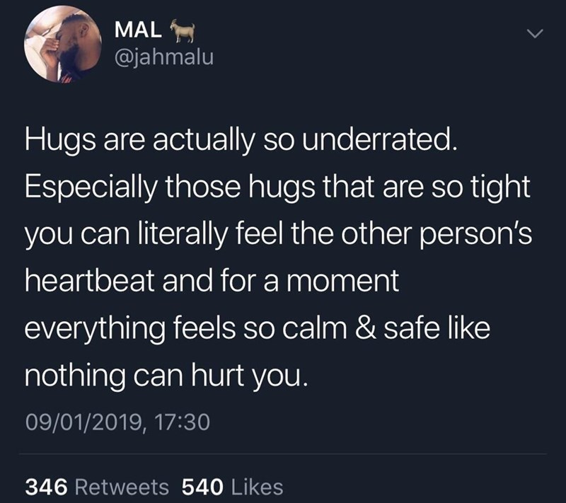 tweet about how great hugs are