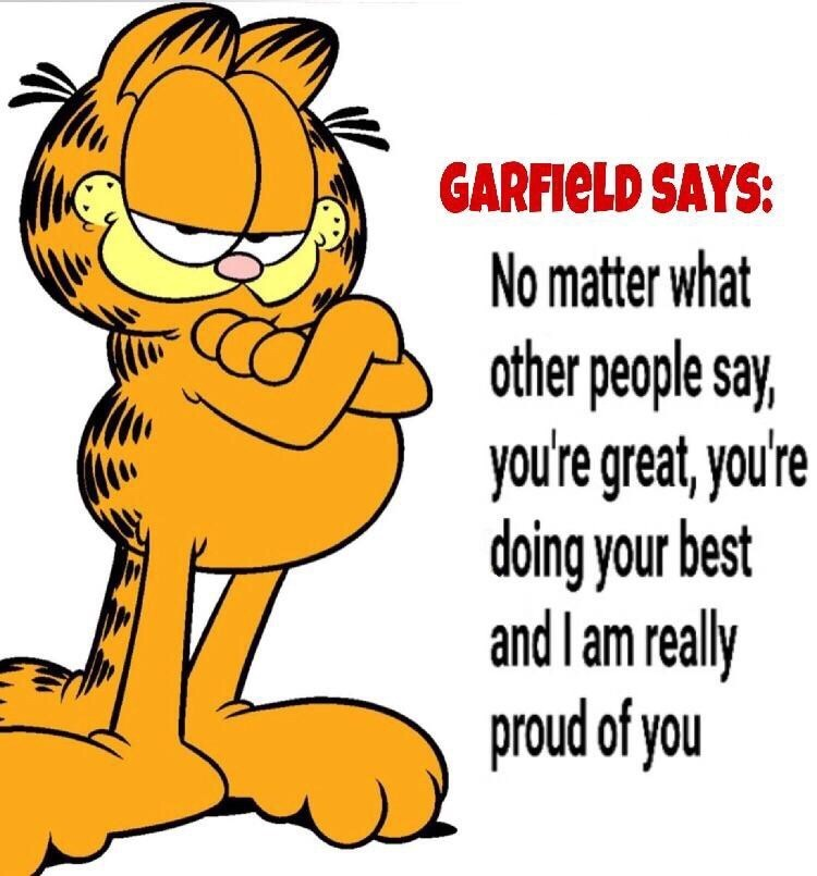 encouraging meme with Garfield the cat