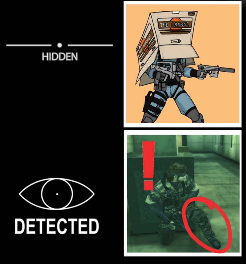 meme about getting spotted in Metal Gear