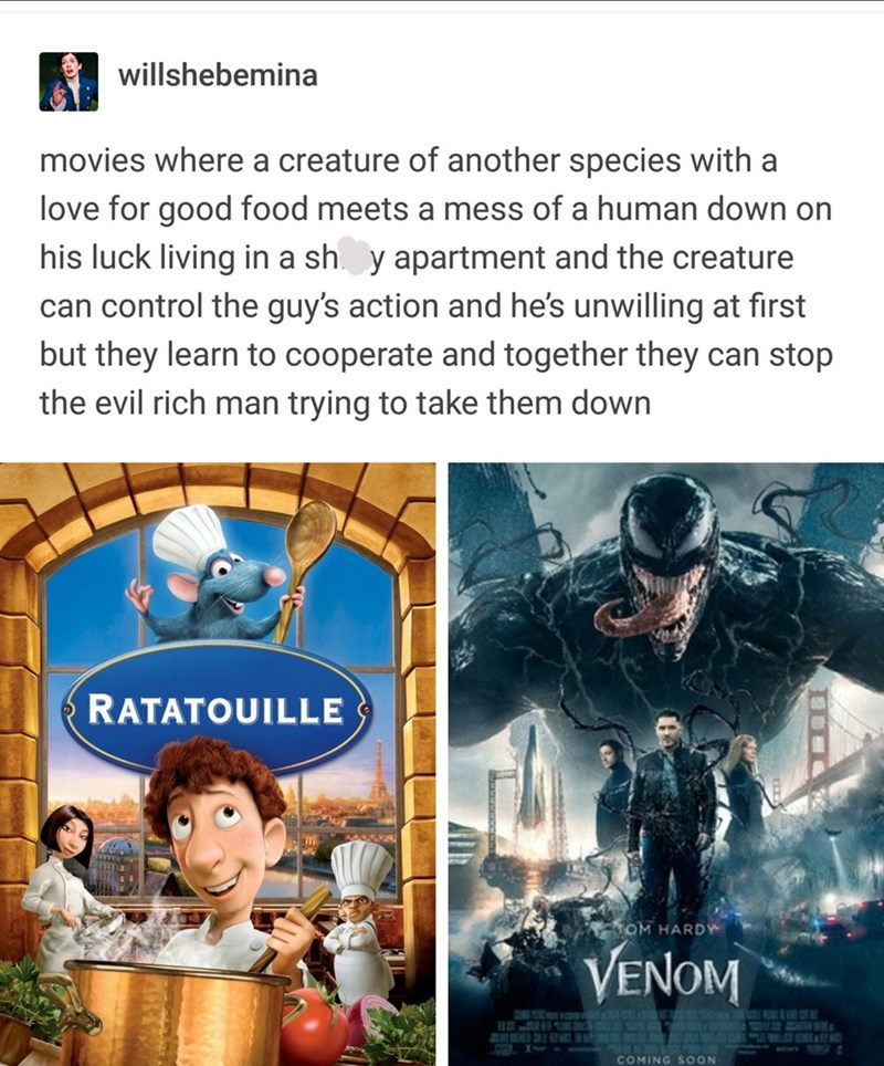 post presenting the similarities between Venom and Ratatouille