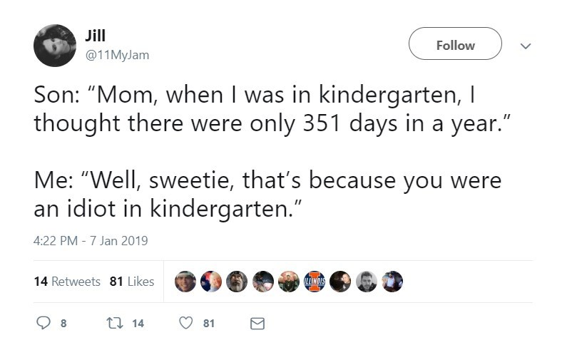 "Text - Jill Follow @11MyJam Son: ""Mom, when I was in kindergarten, I thought there were only 351 days in a year."" Me: ""Well, sweetie, that's because you were an idiot in kindergarten."" 4:22 PM - 7 Jan 2019 14 Retweets 81 Likes LL INDIS ti 14 81"