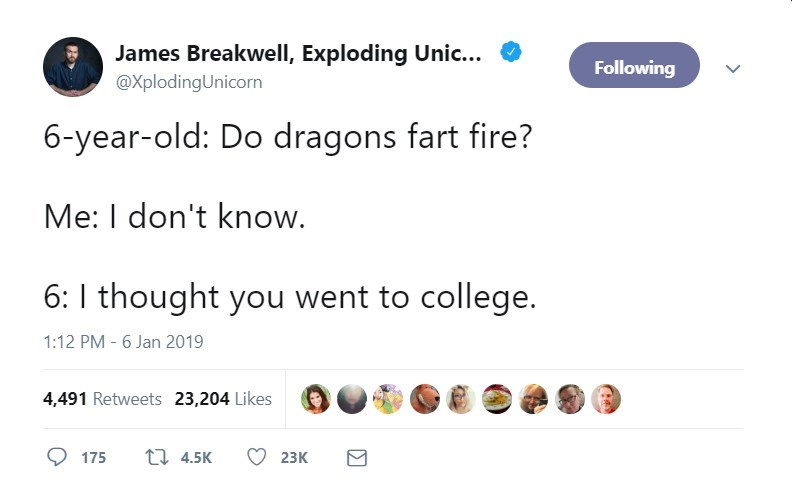 Text - James Breakwell, Exploding Unic... Following @XplodingUnicorn 6-year-old: Do dragons fart fire? Me: I don't know. 6: I thought you went to college. 1:12 PM - 6 Jan 2019 4,491 Retweets 23,204 Likes 1 4.5K 175 23K