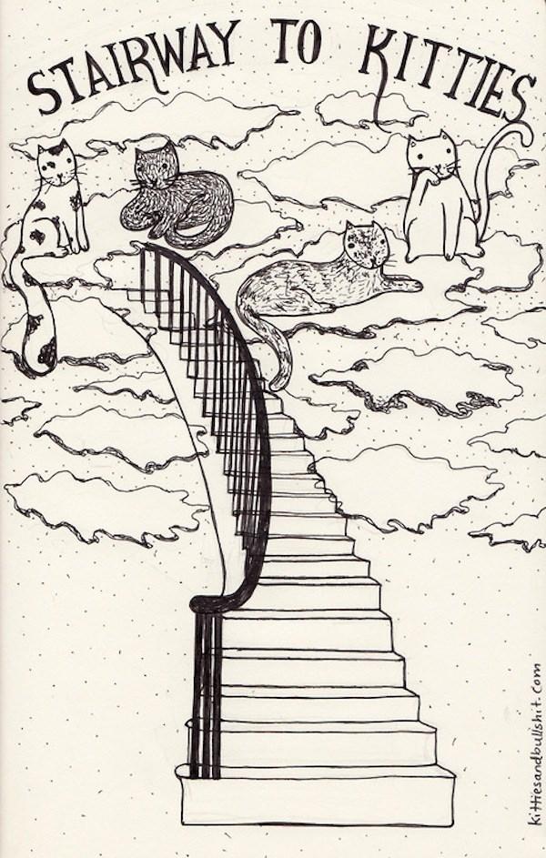 classic song cat - Line art - STAIRWAY TO KITTIES - kittiesandbulshit. Com