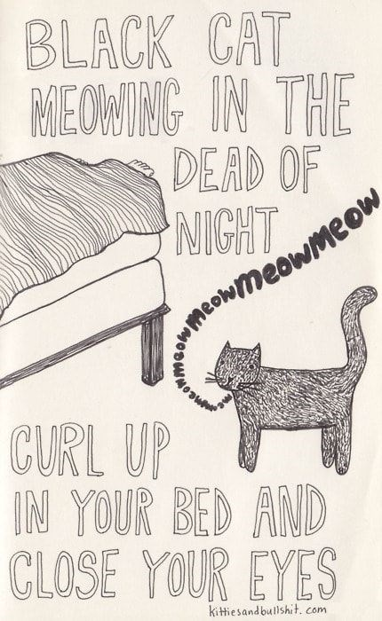 classic song cat - Font - BLACK CAT PE OWIA IN THE DEAD OF NIGHT owme owme CURL UP IN YOUR BED AND CLOSE YOUR EYES kittiesandbullshit. com