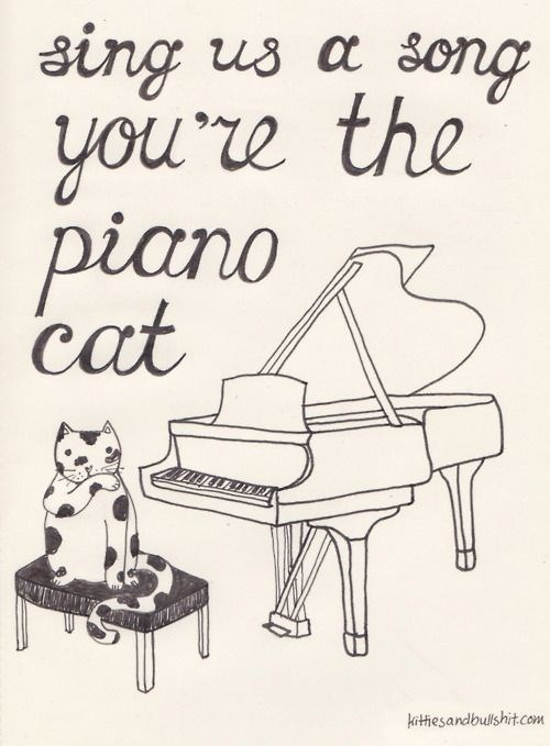 classic song cat - Text - sing us a song you'e the piano cat kithesandbullshit.com